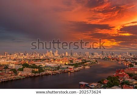 Grand palace and wat arun night in Bangkok city, Thailand - stock photo