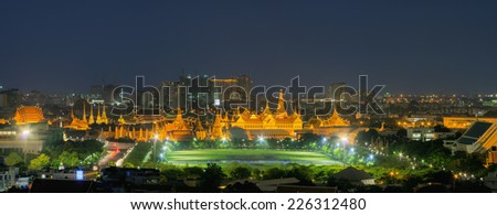 Grand Palace at night in Bangkok of Thailand with space for your text.