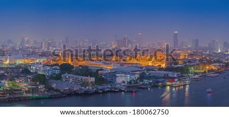 Grand Palace at twilight Bangkok, Thailand  - stock photo