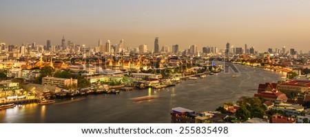 Grand palace at twilight in Bangkok, Thailand - stock photo
