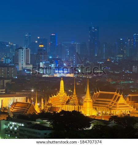 Grand palace at twilight in Bangkok, Thailand, HDR images.  - stock photo