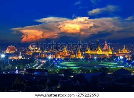 Grand palace with sunset cloud in Bangkok, Thailand - stock photo