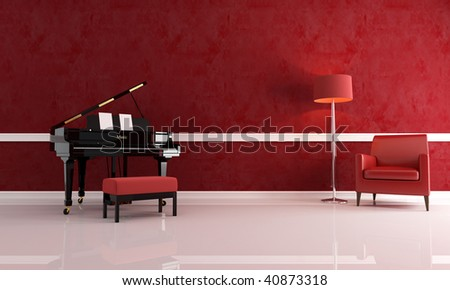 grand piano in a red living room with leather armchair and modern floor lamp - stock photo