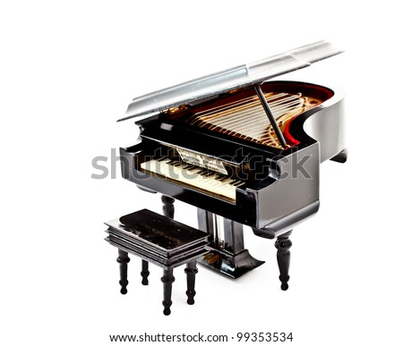 grand piano model on white background, the souvenir from Austria