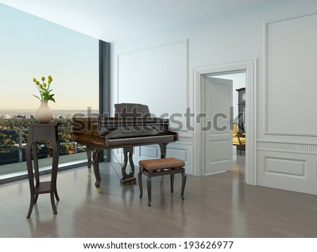 Grand piano standing in nice white room with window in background