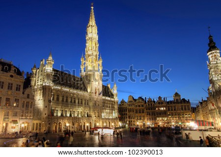 Grand Place at sunset, Brussels, Belgium
