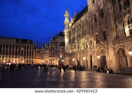 Grand-Place, Brussels, Belgium - May. 17, 2012: Night view of Grand-Plance