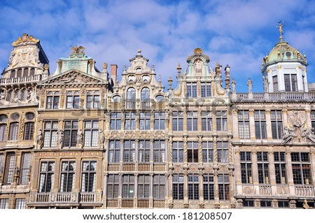 Grand Place in Brussels, Belgium. Historical architecture - facades of old buildings - Guildhalls