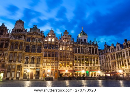 Grand Place in Brussels with night lights view, Belgium - stock photo