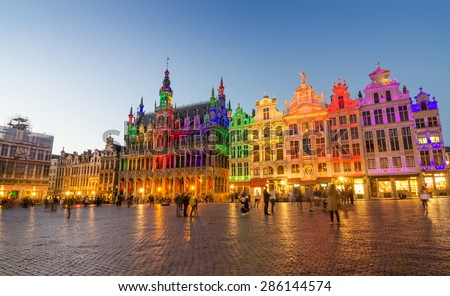 Grand Place with colorful lighting at Dusk in Brussels, Belgium - stock photo