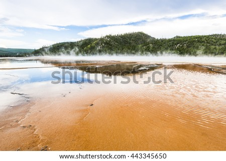 Grand Prasmatic  on the day,geysers  in yellow stone,Wyoming,usa. - stock photo