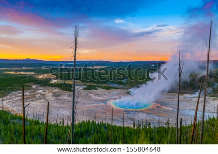 Grand Prismatic Geyser at Sunset photographed from the Hill - stock photo