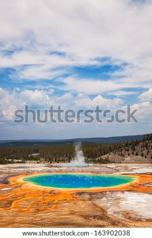 Grand Prismatic Spring in Midway Geyser Basin, Yellowstone National Park, Wyoming - stock photo