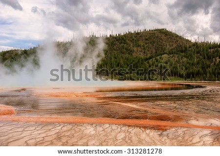 Grand Prismatic Spring in Yellowstone National Park, the largest hot spring in USA - stock photo