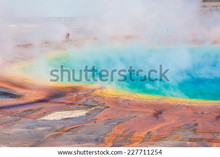 Grand Prismatic Spring, Midway Geyser Basin, Yellowstone National Park, USA - stock photo