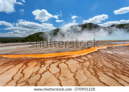 Grand Prismatic Spring, Midway Geyser Basin, Yellowstone National Park, Wyoming, USA. - stock photo