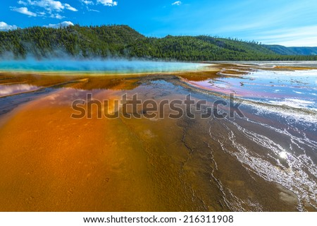 Grand Prismatic Spring wide angle shot as seen from the boardwalk - stock photo
