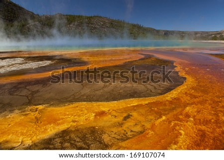 Grand Prismatic Spring - Yellowstone National Park - stock photo