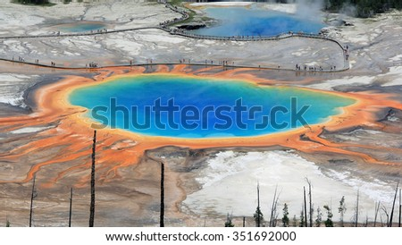 Grand Prismatic Spring, Yellowstone National Park, Wyoming - stock photo