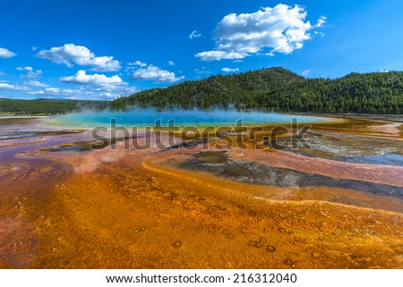 Grand Prismatic wide angle shot as seen from the boardwalk - stock photo