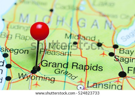 grand rapids pinned on a map of michigan usa