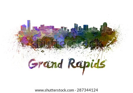 Grand Rapids skyline in watercolor splatters with clipping path - stock photo