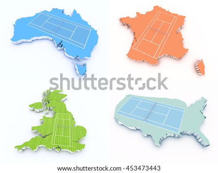 grand slam tennis court countries