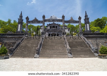 Grand stairs in Imperial Khai Dinh Tomb in Hue, Vietnam - stock photo