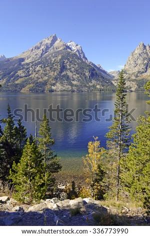 Grand Teton and the Teton Range, Grand Teton National Park, Wyoming, USA - stock photo
