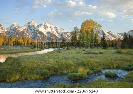 Grand Teton mountains with stream and trees in the foreground captured in morning light - stock photo