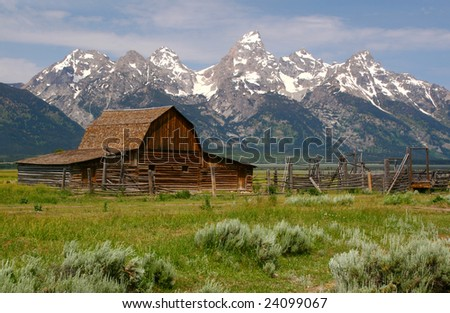 Grand Teton N P, Mormon Row Barn - stock photo