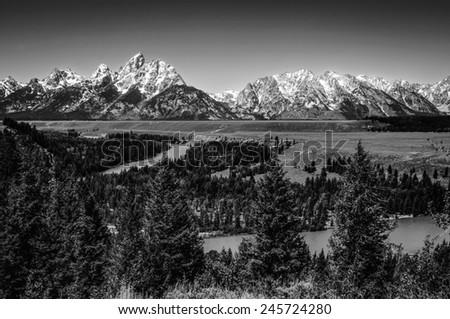 Grand Teton National Park at Snake River overlook black & white - stock photo