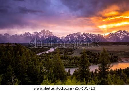 Grand Teton National Park at Snake River overlook sunset - stock photo