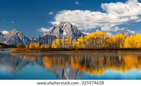 Grand Teton National Park in autumn in Wyoming USA - stock photo