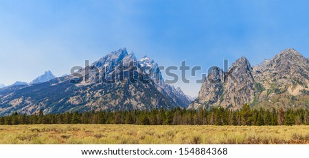 Grand Teton National Park Panorama of Mountain Range, Wyoming