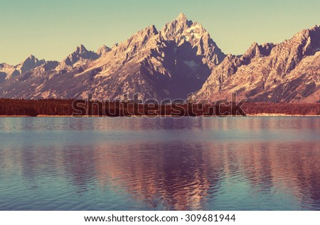 Grand Teton National Park, Wyoming, USA.Instagram filter. - stock photo