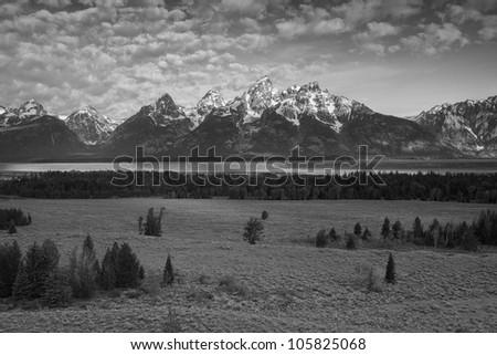 Grand Teton Peaks in black and white - stock photo