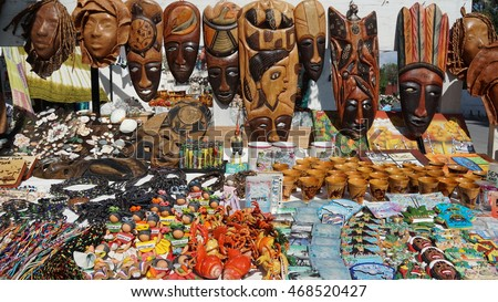GRAND TURK, TURKS & CAICOS - NOV 23: Shopping market in Grand Turk in the Turks and Caicos Islands, as seen on Nov 23, 2015. Grand Turk It is the largest island in the Turks Islands.