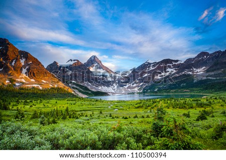 Grand view of mount Assiniboine and Magog lake, Alberta, Canada - stock photo
