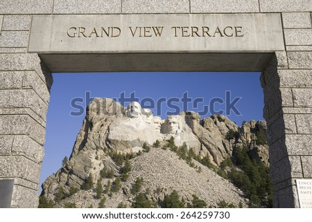 Grand View Terrace looking towards Mount Rushmore National Memorial, South Dakota - stock photo