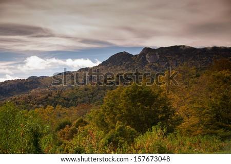 Grand Vista of the Blue Ridge Mountains near Blowing Rock, North Caroina - stock photo