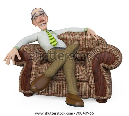 granddad businessman relaxing on sofa - stock photo