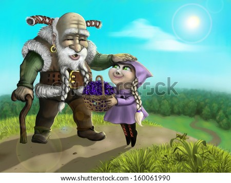 Granddaughter brought to grandfather  berries from forest - stock photo