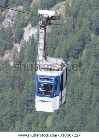 Grande Dixence, Switzerland - 20 july, 2015: Skilift at the Grande Dixence. It's the highest gravity dam in the world, 20 july, 2015, Grande Dixence