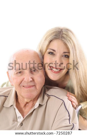 Grandfather and grand daughter love vertical - stock photo