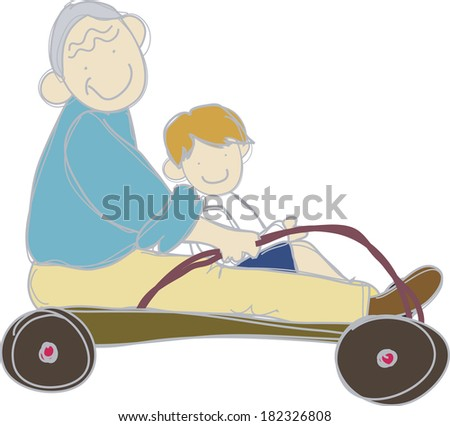 Grandfather and grandchild riding a toy wagon