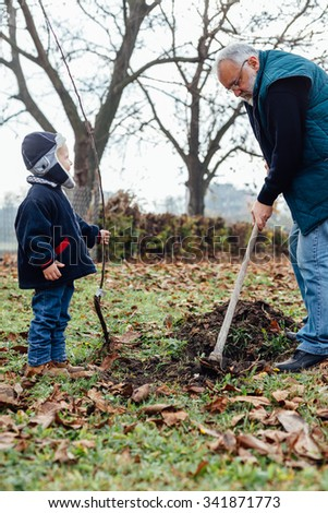 Grandfather and grandson are preparing the ground for planting fruit trees