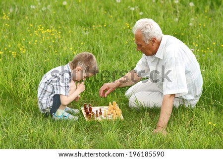 Grandfather and grandson playing chess on the grass in the meadow - stock photo