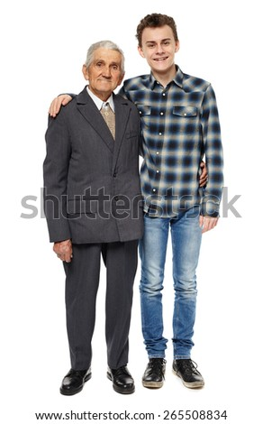 Grandfather and grandson posing in full length portrait, isolated on white background - stock photo