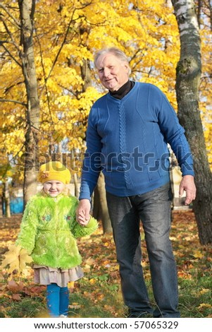 grandfather and little girl outdoor